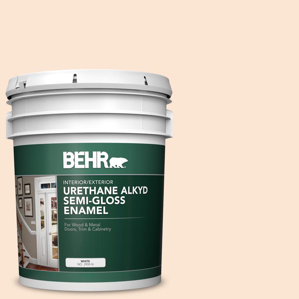 Behr 5 Gal 290c 1 Serengeti Sand Urethane Alkyd Semi Gloss Enamel Interior Exterior Paint 390005 The Home Depot