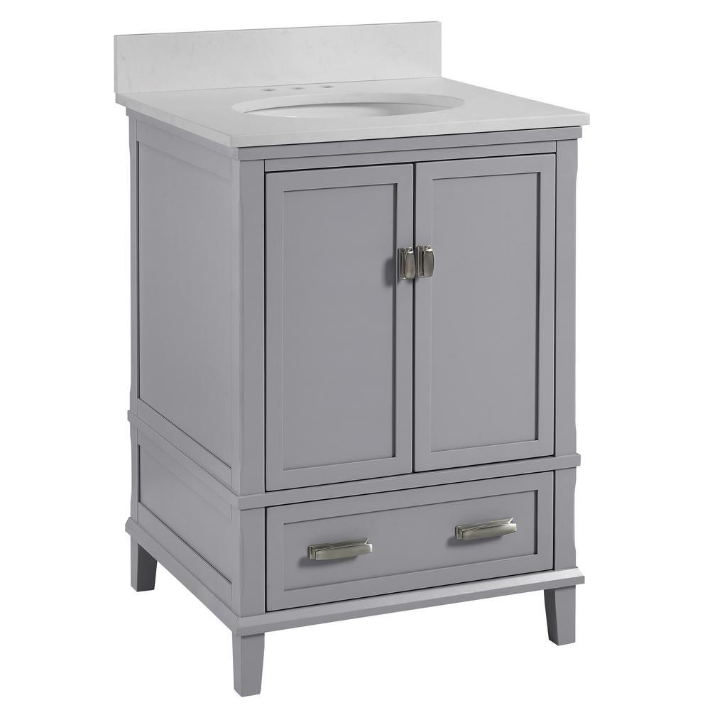 Irving 24 in. W Bath Vanity in Gray with Ocean Mist Engineered Stone Vanity Top with Pre-Installed Porcelain Basin