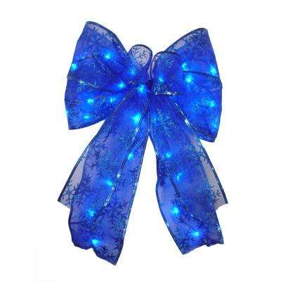 9 in. 36-Light Battery Operated LED Blue Everyday Bow