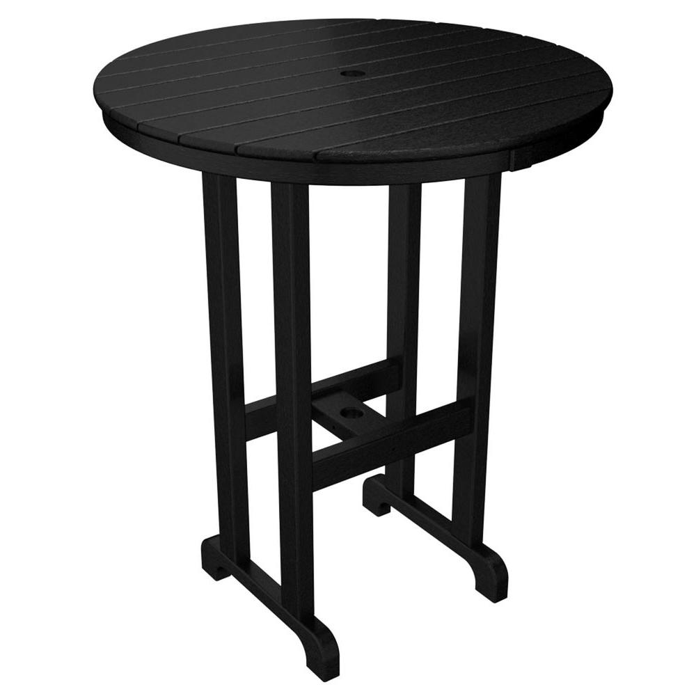 La Casa Cafe Black 36 in. Round Plastic Outdoor Patio Bar