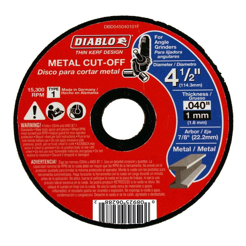 Diablo 4 1 2 In X 0 040 In X 7 8 In Thin Kerf Metal Cut Off Disc Dbd045040101f The Home Depot