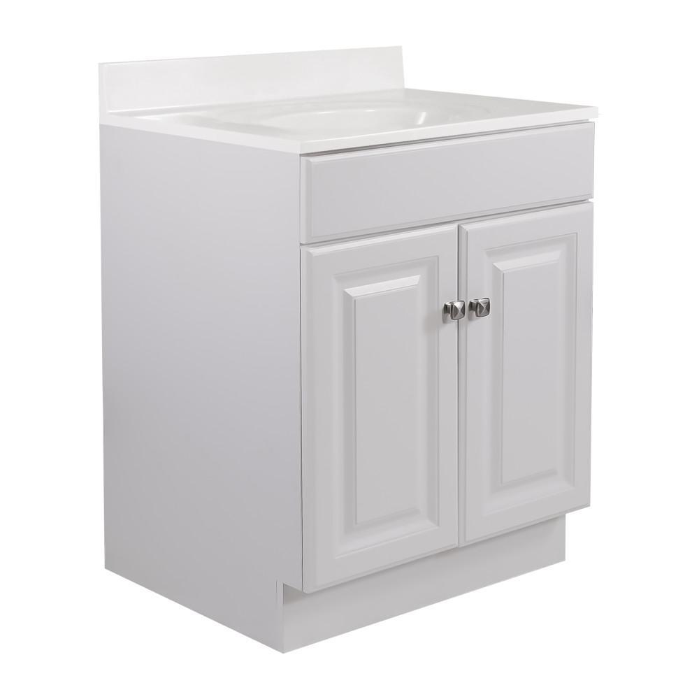 Design House 24 in. x 21 in. x 33.5 in. 2-Door Bath Vanity in White w/ 4 in. Centerset White on White CM Vanity Top w/ Basin