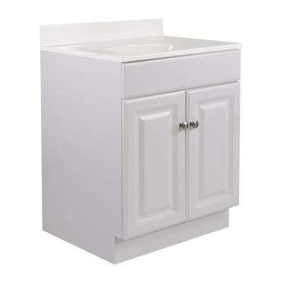 24 in. x 21 in. x 33.5 in. 2-Door Bath Vanity in White w/ 4 in. Centerset White on White CM Vanity Top w/ Basin