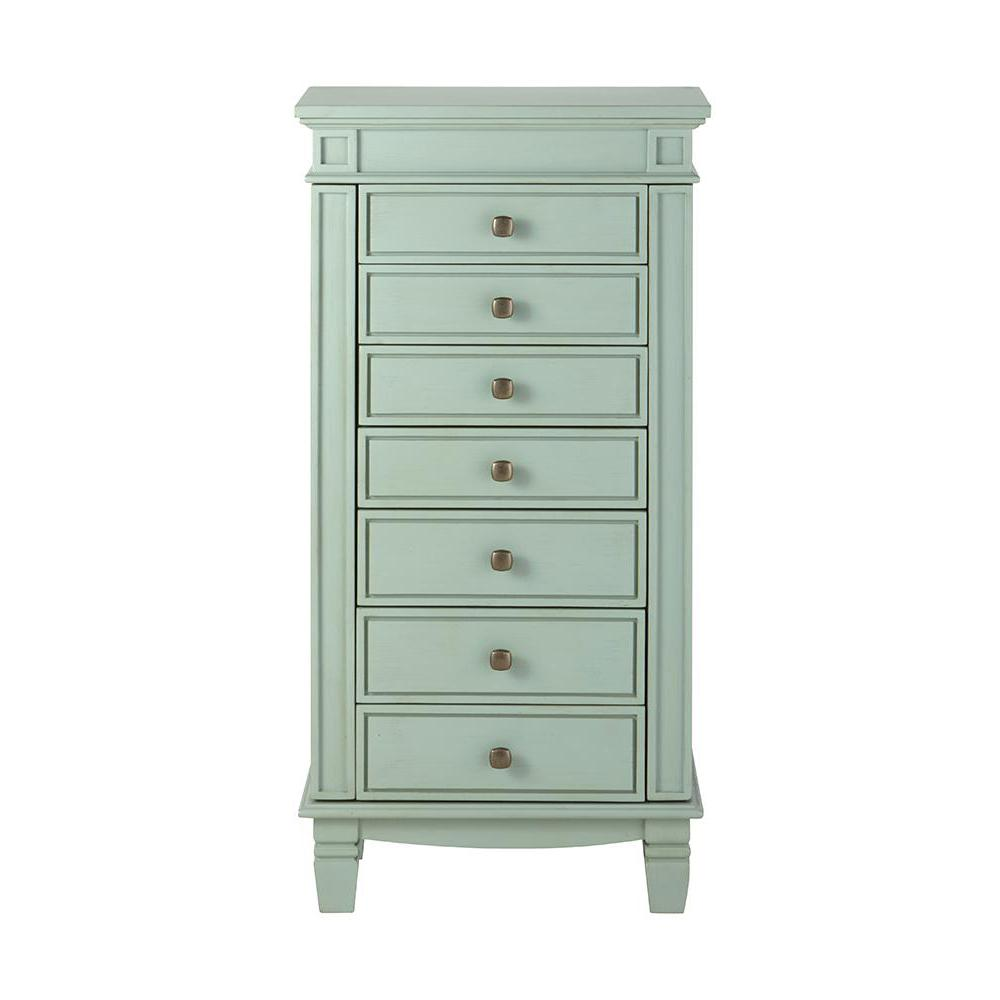 Home Decorators Collection Cordelia Antique Blue Jewelry Armoire
