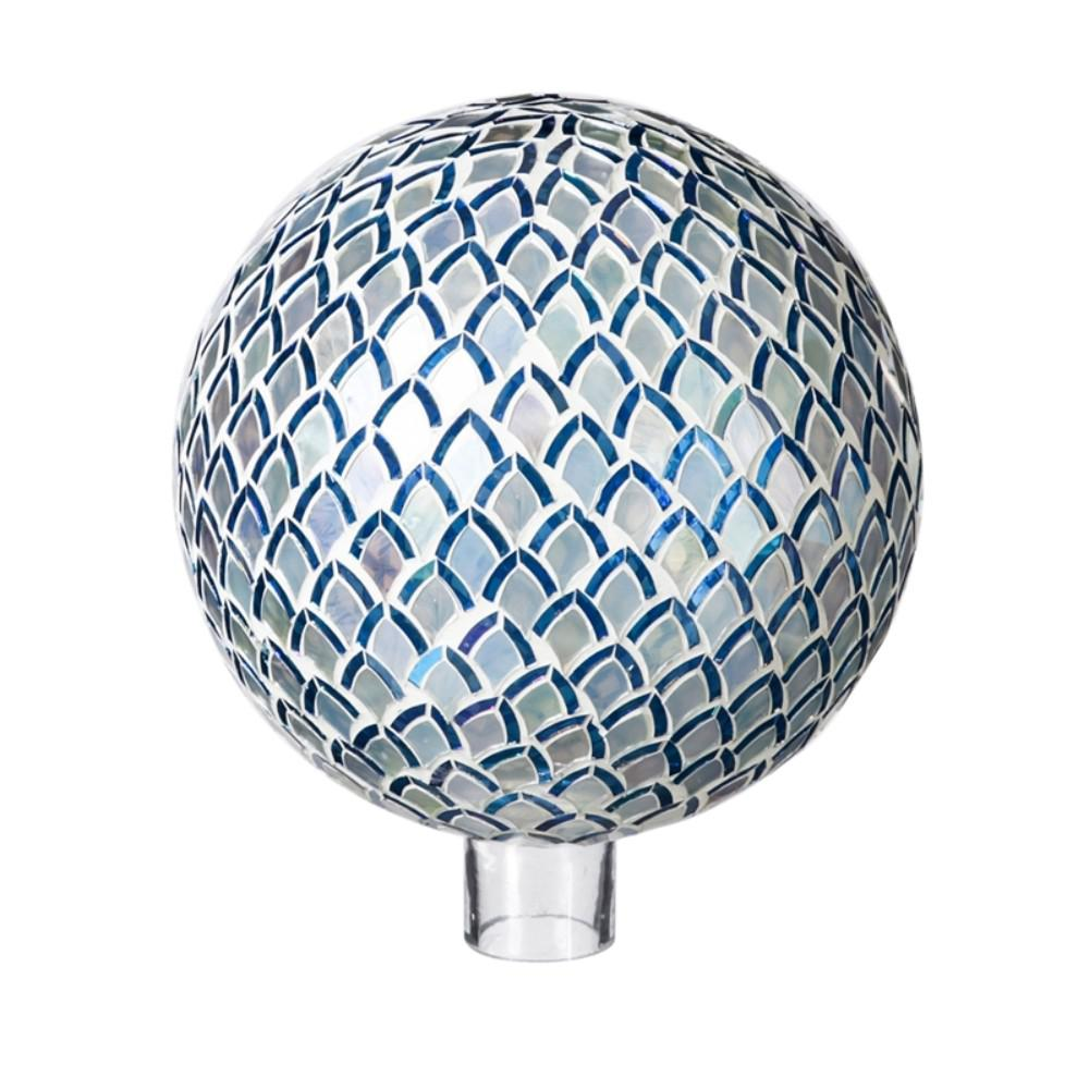 Evergreen Garden 10 in. Blue Mosaic Petals Gazing Ball This gazing ball will look great in your home or garden. Made of glass, it is safe for indoor or outdoor use. Approximately 10 in. Dia.
