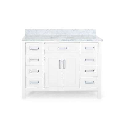 Greysen 48 in. W x 22 in. D Bath Vanity with Carrara Marble Vanity Top in White with White Basin