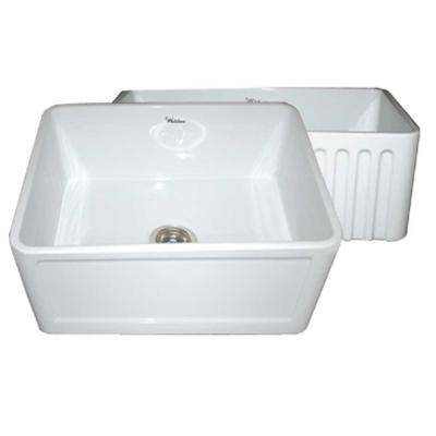 Reversible Concave Farmhaus Apron Front Fireclay 24 in. Single Bowl Kitchen Sink in White