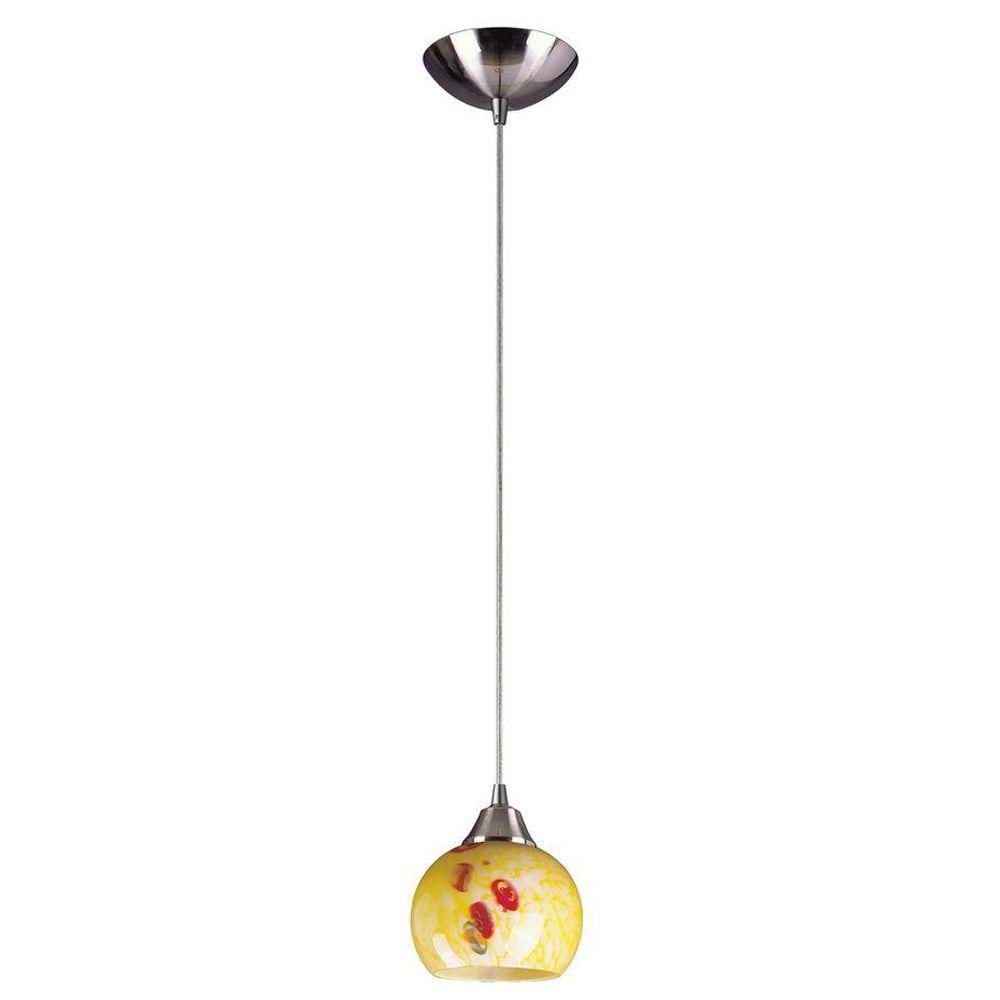 Titan Lighting Mela 1-Light Satin Nickel Ceiling Mount Pendant