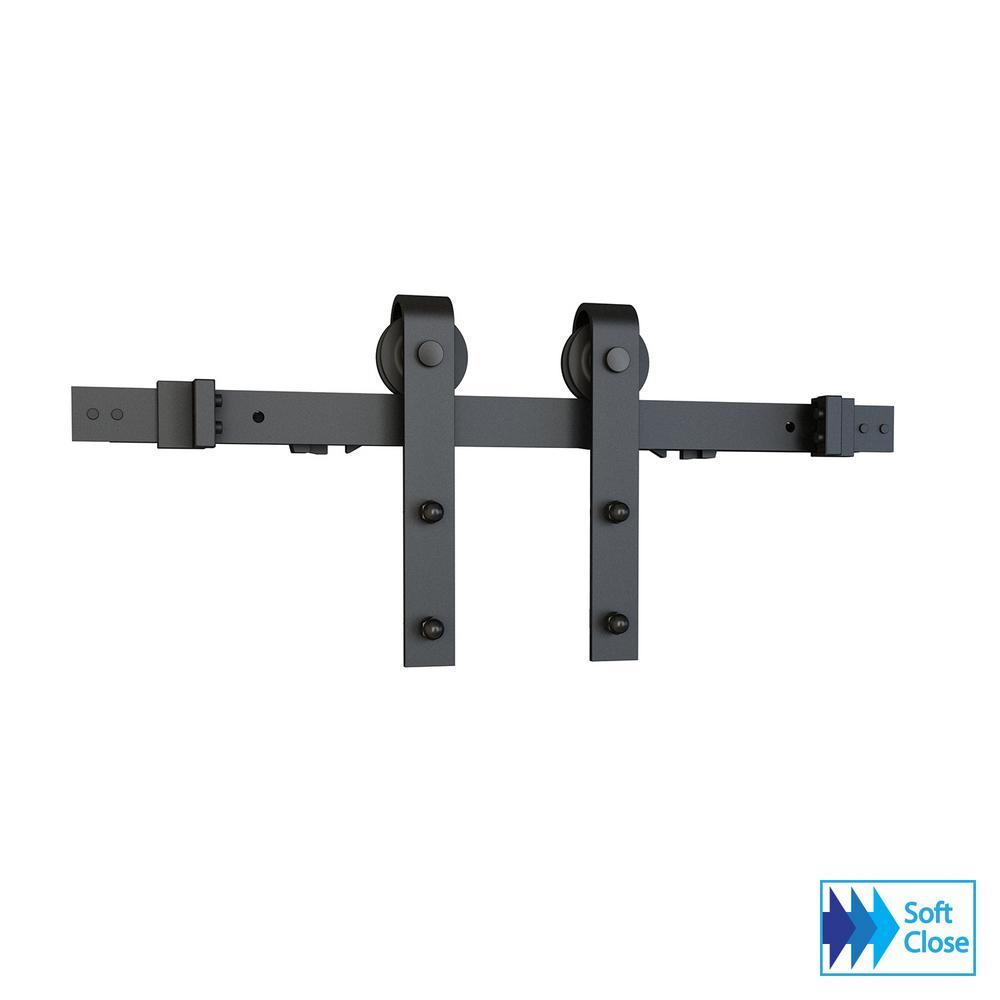 Soft Close Black Solid Steel Sliding Rolling Barn Door Hardware Kit for Single Wood Doors