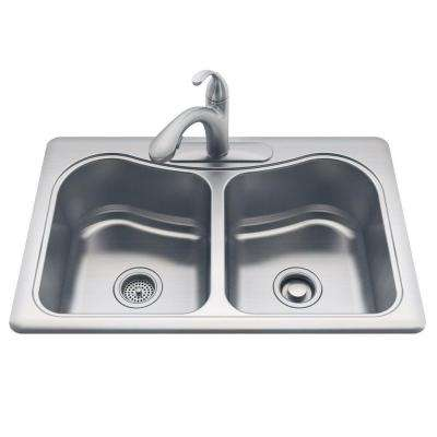 Staccato All-in-One Drop-In Stainless Steel 33 in. 3-Hole Double Basin Kitchen Sink