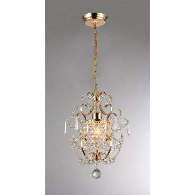 Emily 11 in. Gold Indoor Crystal Chandelier with Shade