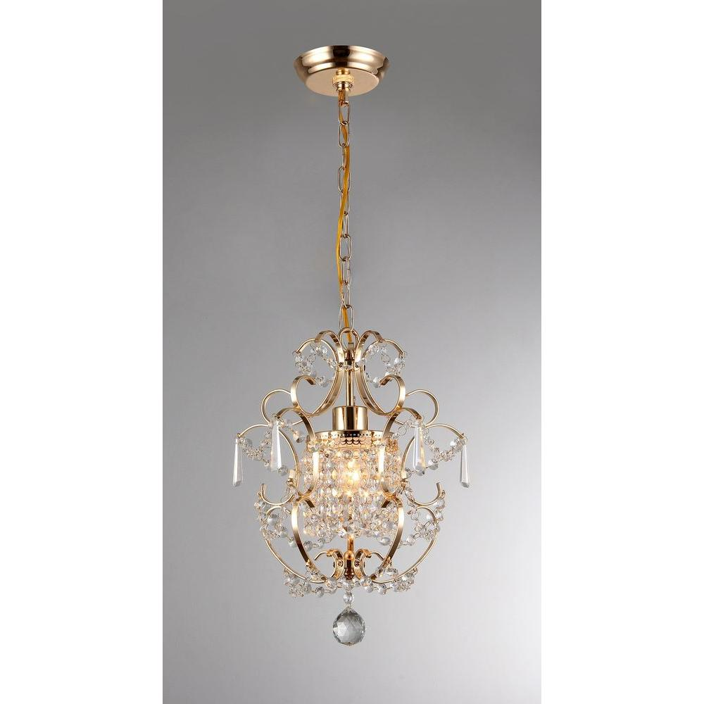 Gold Indoor Crystal Chandelier With Shade Rl4025gd The Home Depot