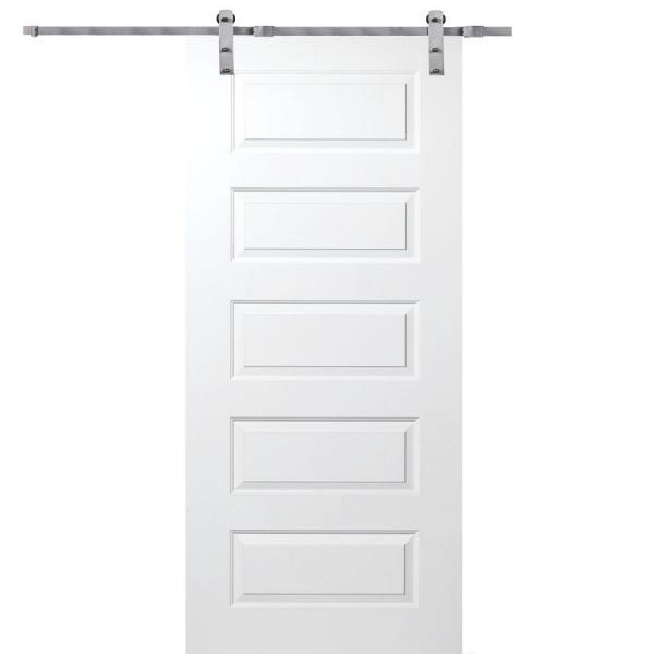 32 in. x 80 in. Primed Rockport Smooth Surface Solid Core Door with Barn Door Hardware Kit