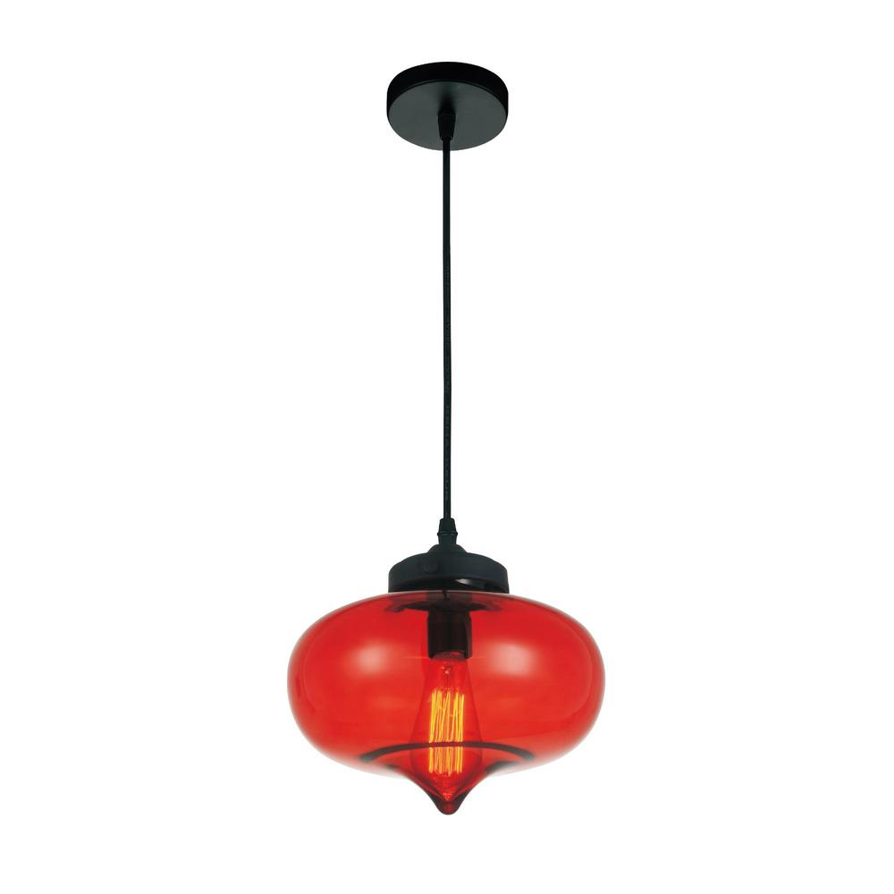 red pendant lighting. CWI Lighting Glass 1-Light Transparent Red Pendant