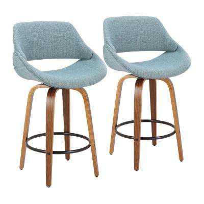 Fabrico 26 in. Walnut and Blue Fabric Counter Stool with Black Footrest (Set of 2)