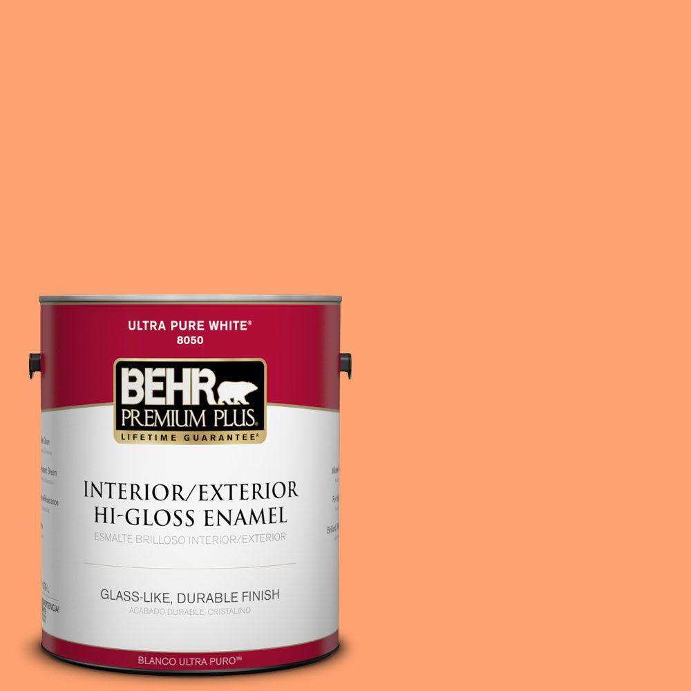 BEHR Premium Plus 1-gal. #P210-5 Cheerful Tangerine Hi-Gloss Enamel Interior/Exterior Paint