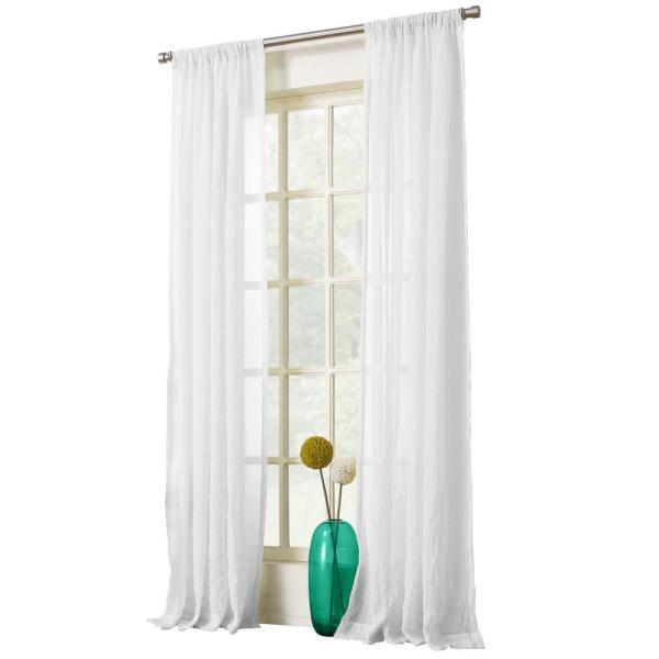 Sheer White No. 918 Millennial Laguna Sheer Rod Pocket Curtain Panel, 50 in. W x 63 in. L