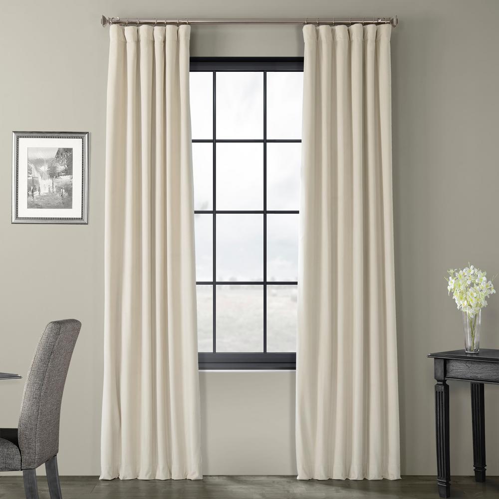 Signature Neutral Cream Ground Blackout Velvet Curtain - 50 in. W x 108 in. L