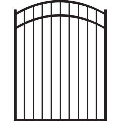 Natural Reflections Standard-Duty 4 ft. W x 4.5 ft. H Black Aluminum Arched Pre-Assembled Fence Gate