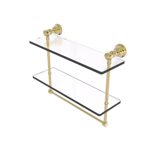 Allied Brass Carolina Collection 16 In Double Glass Shelf With Towel Bar In Unlacquered Brass Cl 2 16tb Unl The Home Depot