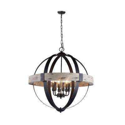 Zeus 6-Light Distressed Black Chandelier Wood and Steel Frame