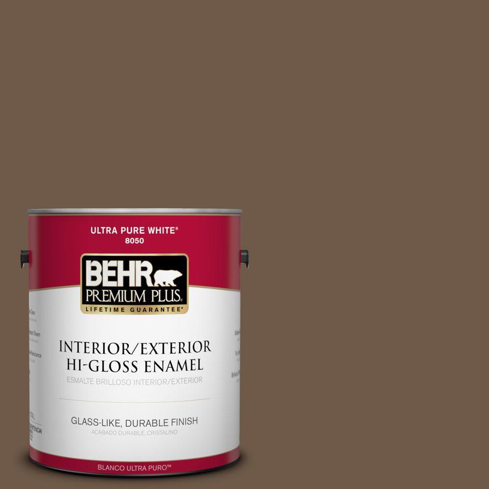 BEHR Premium Plus 1-gal. #N230-7 Rustic Tobacco Hi-Gloss Enamel Interior/Exterior Paint
