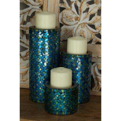10 in., 7 in. and 4 in. New Traditional Iron Round Mosaic Candle Holder in Blue (Set of 3)