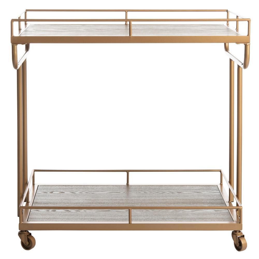 Safavieh Dawson 2-Tier Rustic Oak/Gold Bar Cart