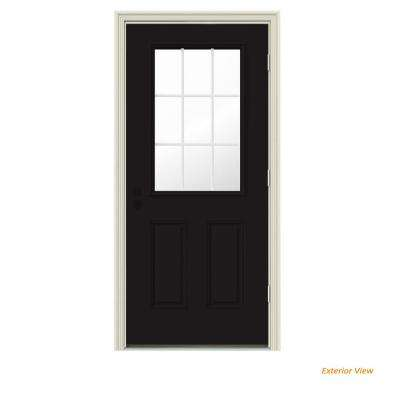 30 in. x 80 in. 9 Lite Black Painted w/ White Interior Steel Prehung Left-Hand Outswing Front Door w/Brickmould