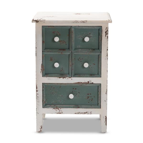 Angeline 5-Drawer White and Teal Chest