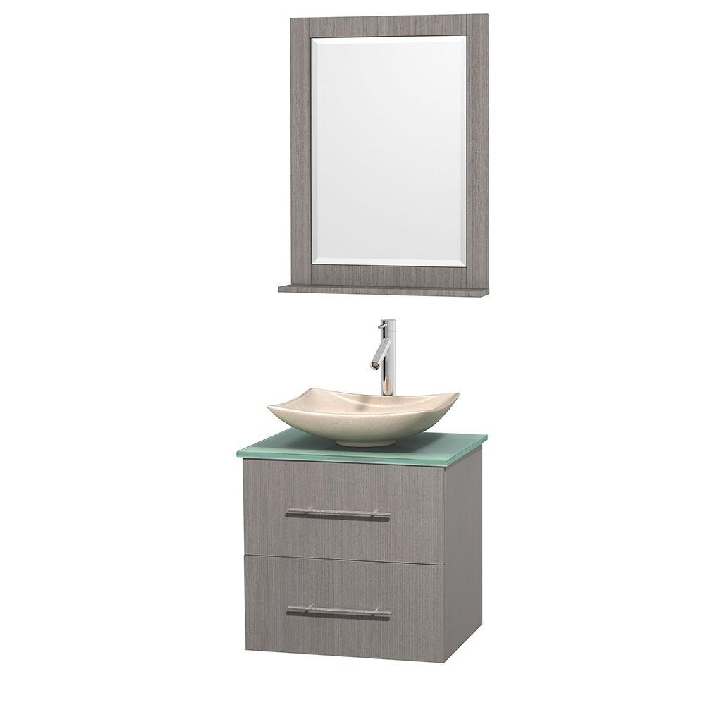 Wyndham Collection Centra 24 in. Vanity in Gray Oak with Glass Vanity Top in Green, Ivory Marble Sink and 24 in. Mirror