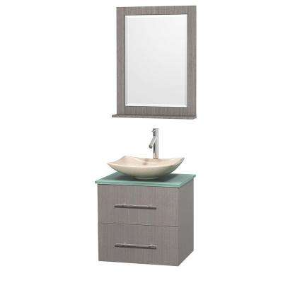 Centra 24 in. Vanity in Gray Oak with Glass Vanity Top in Green, Ivory Marble Sink and 24 in. Mirror