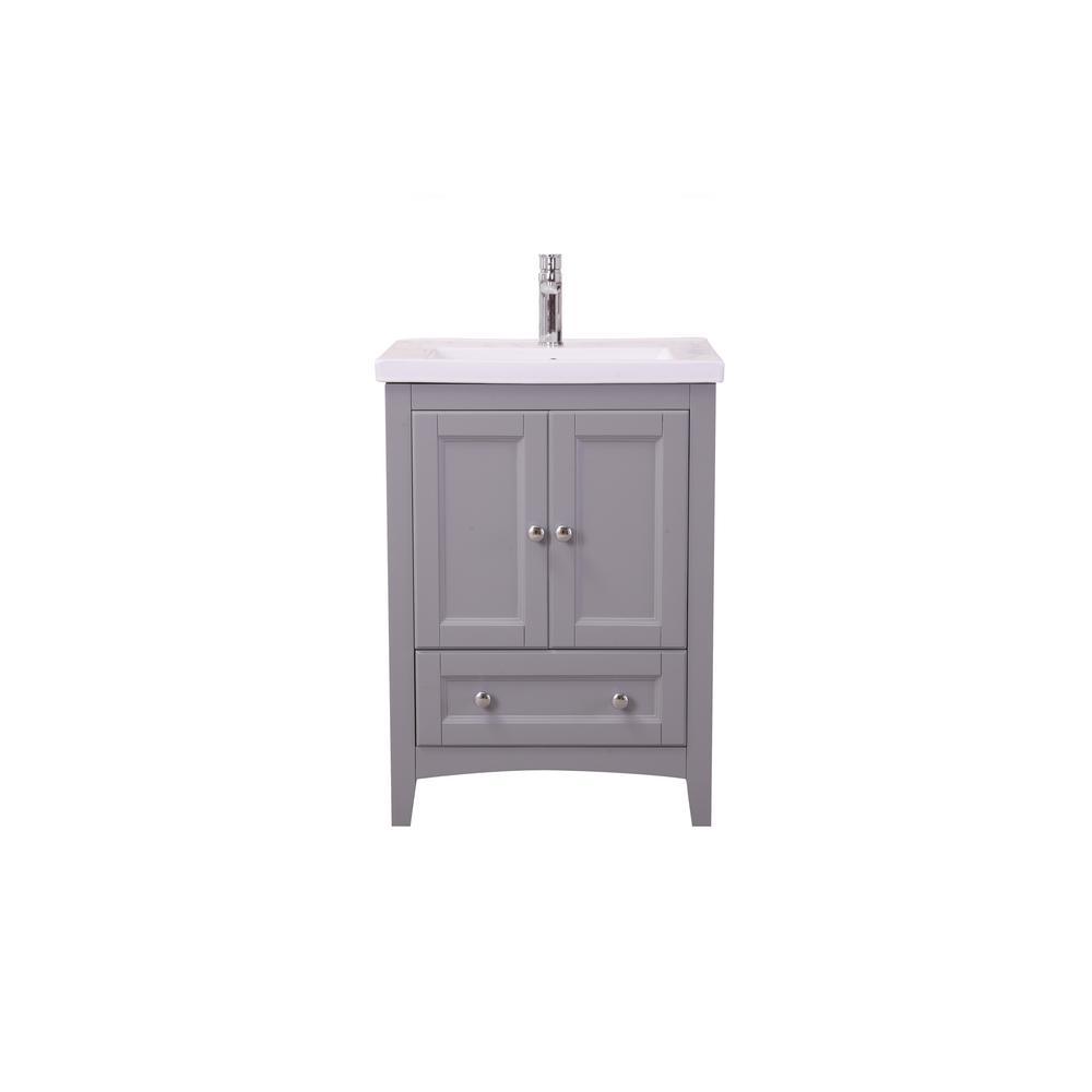 Copeland 24 in. Single Bathroom Vanity with 1-Drawer 2-Doors Marble Top Porcelain Sink in Medium Grey Finish