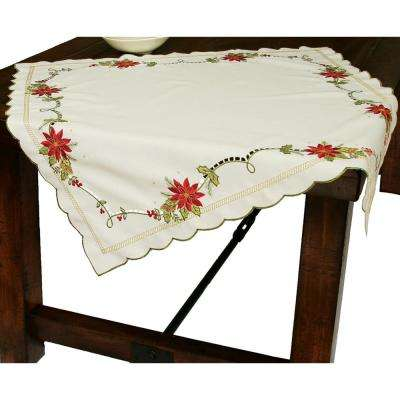 34 in. x 34 in. Scrolling Poinsettia Embroidered Cutwork Table Topper
