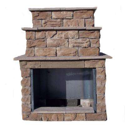 72 in. Fossill Brown Grand Outdoor Fireplace Kit