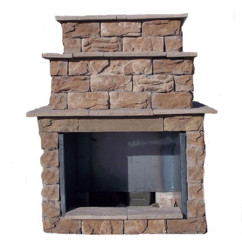 72 in fossill brown grand outdoor fireplace kit fbgfpl the home