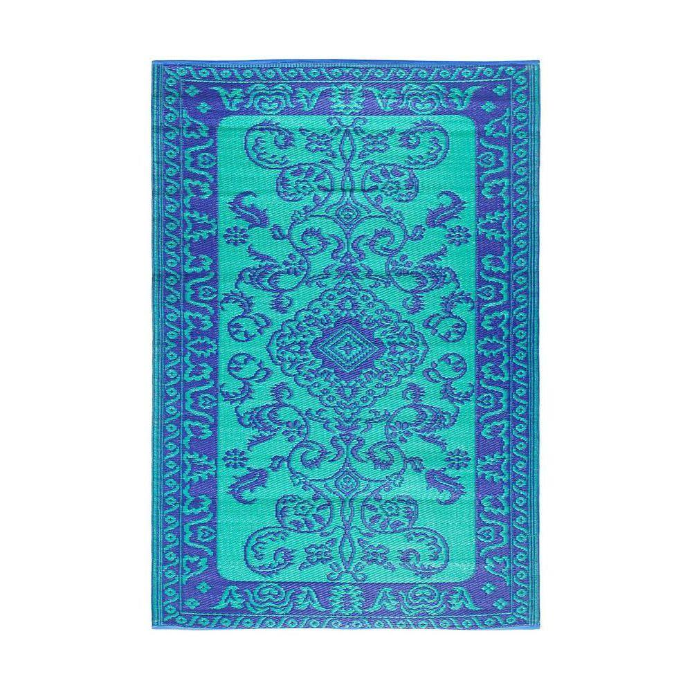 Achla Designs Lapis Blue Classic Duo-Tone 4 ft. x 6 ft. Indoor/Outdoor Area Rug, Teal Blue Purple Achla Designs Lapis Blue Classic Duo-Tone 4 ft. x 6 ft. Indoor/Outdoor Area Rug, Teal Blue Purple