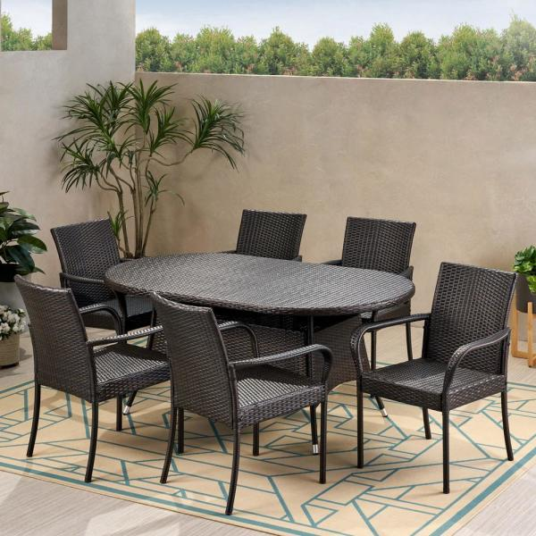Barona 28.50 in. Multi-Brown 5-Piece Metal Oval Outdoor Dining Set