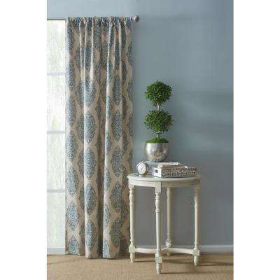 Monroe 108 in. L x 54 in. W Rod Pocket Window Panel in Natural and Aqua Blue