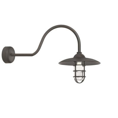 Retro Industrial 30 in. Arm 1-Light Textured Bronze Clear Glass Lens Outdoor Wall Mount Sconce