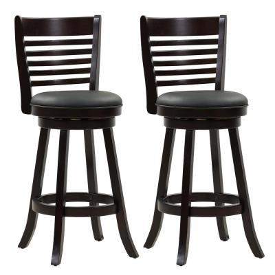 Woodgrove 29 in. Wood Swivel Bar Stools with Black Bonded Leather Seat and 6-Slat Backrest (Set of 2)