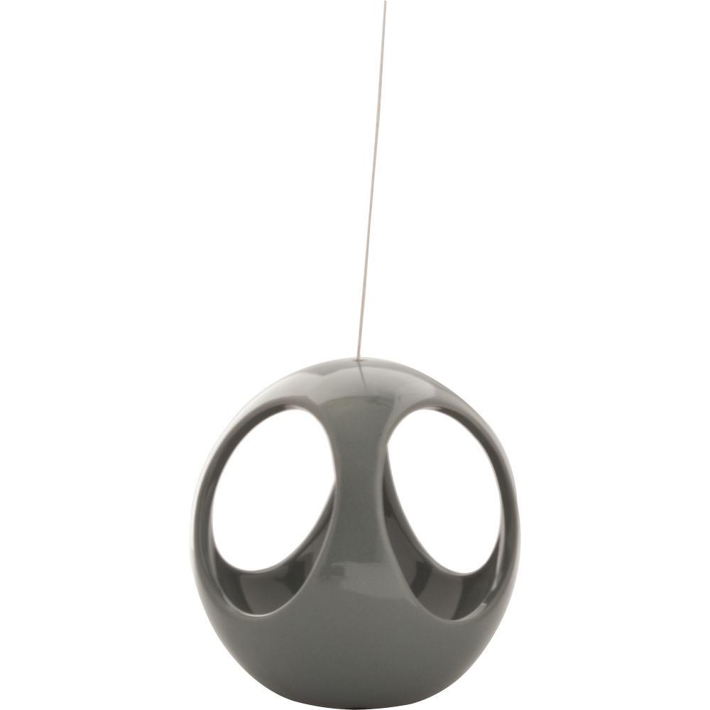 Live Green Nidos 4.75 in. Gray Ceramic Hanging Ball Planter
