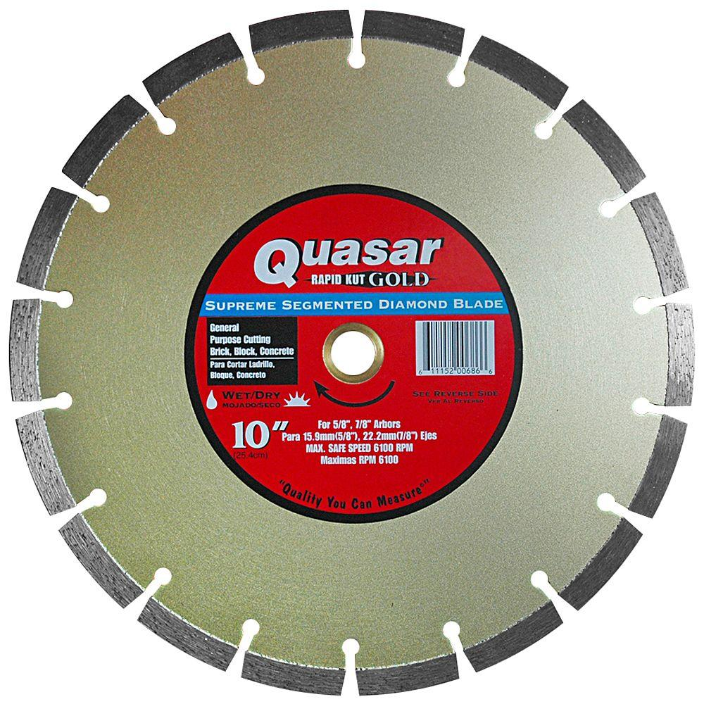 Quasar Rapid Kut Gold 10 in. Supreme Segmented Diamond Blade