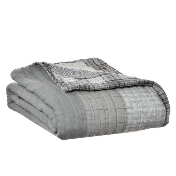 eebba889d459 Eddie Bauer 50 in. x 60 in. Fairview Grey Quilted Throw 202894 - The ...