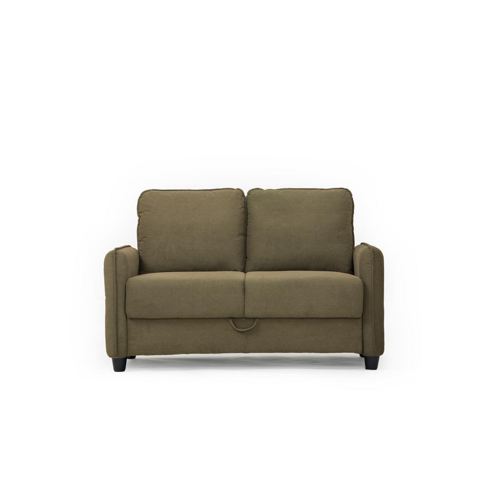 Sheldon Microfiber Loveseat with Storage in Taupe