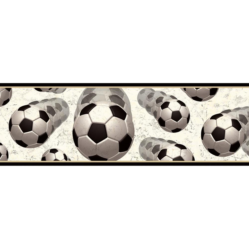 Chesapeake Beckham Soccer Balls Motion Wallpaper Border