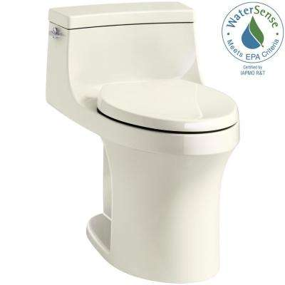 San Souci 1-Piece 1.28 GPF Single Flush Elongated Toilet in Biscuit, Seat Included