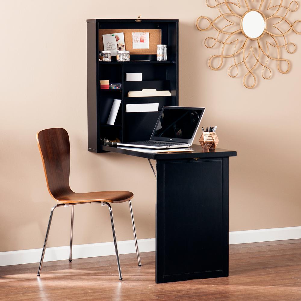 Southern Enterprises 22 Inch Rectangular Black Floating Desks with Built-In Storage