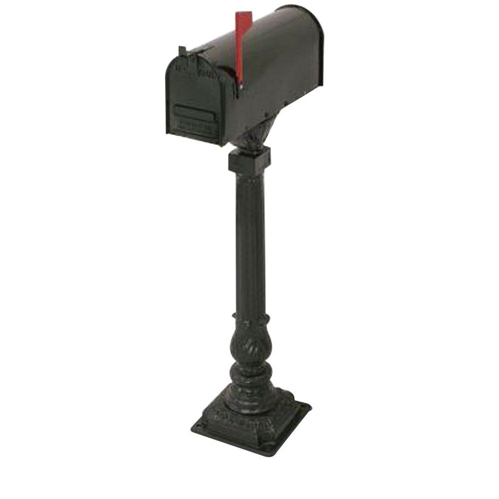 Postal Products Unlimited Cleveland 50 in. Aluminum Black Mailbox and Post