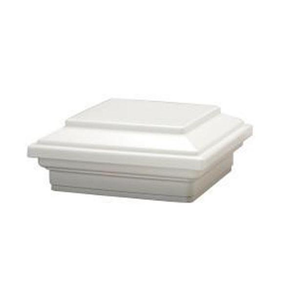 4 in. x 4 in. Flat Composite Post Sleeve Cap in White